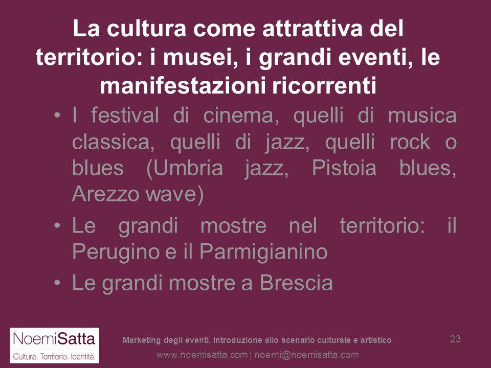 Marketing degli eventi. Introduzione allo scenario culturale e artistico www.noemisatta.com | noemi@noemisatta.com 22 La cultura come attrattiva del t