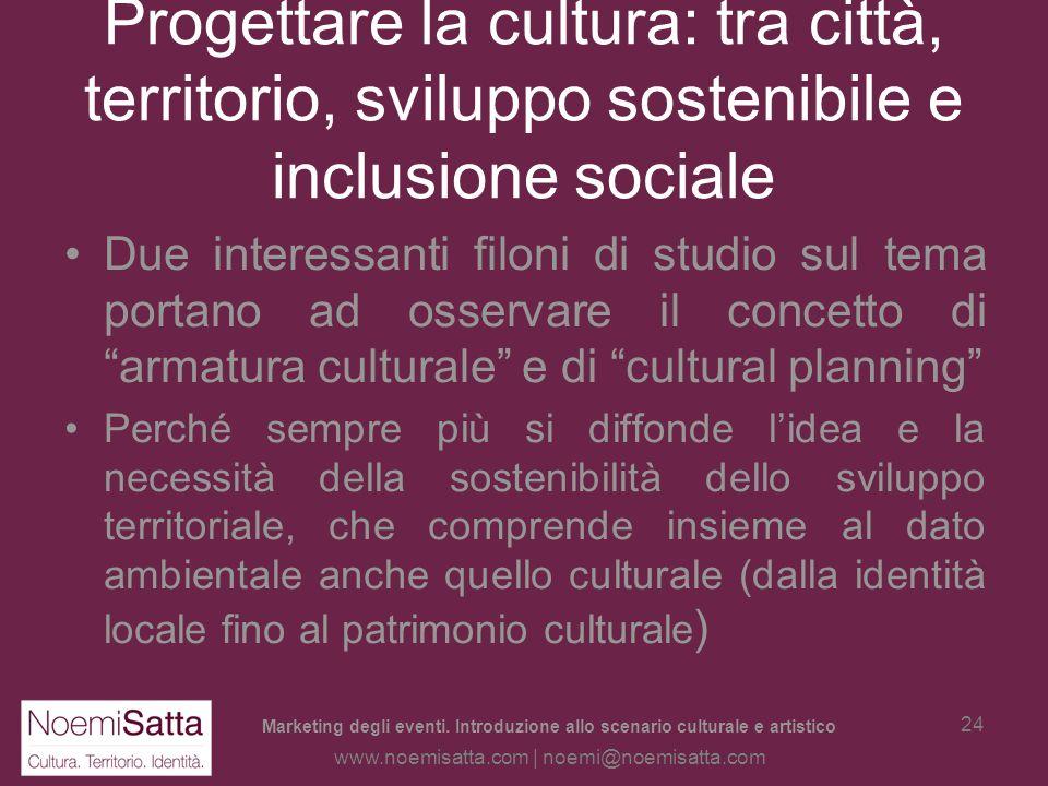 Marketing degli eventi. Introduzione allo scenario culturale e artistico www.noemisatta.com | noemi@noemisatta.com 23 La cultura come attrattiva del t