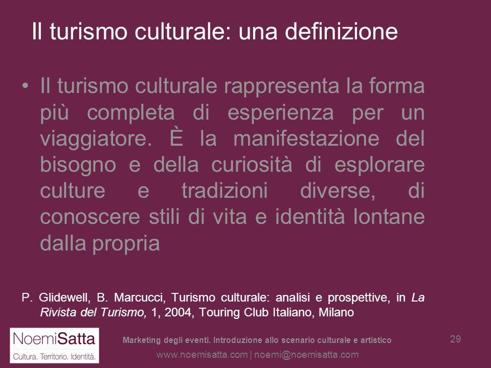Marketing degli eventi. Introduzione allo scenario culturale e artistico www.noemisatta.com | noemi@noemisatta.com 28 Il territorio e i nuovi turismi: