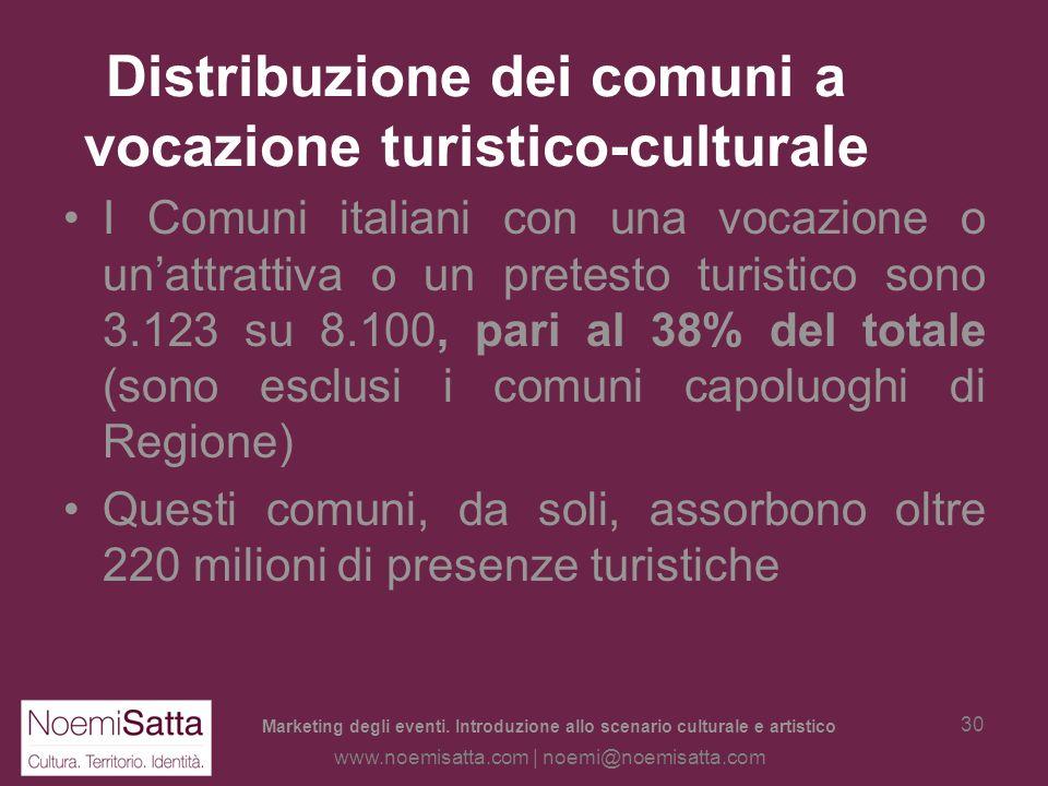 Marketing degli eventi. Introduzione allo scenario culturale e artistico www.noemisatta.com | noemi@noemisatta.com 29 Il turismo culturale: una defini