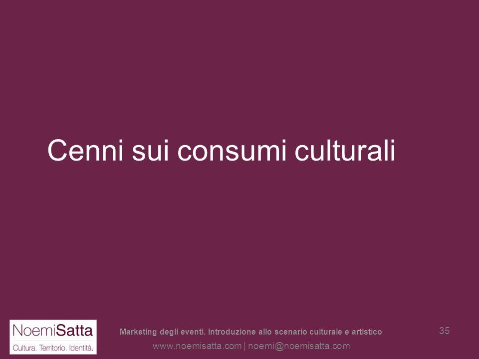 Marketing degli eventi. Introduzione allo scenario culturale e artistico www.noemisatta.com | noemi@noemisatta.com 34 Il turista culturale Non è sempr