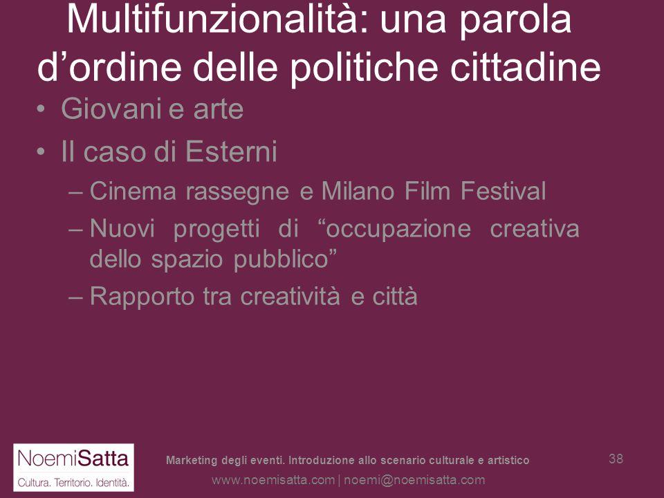 Marketing degli eventi. Introduzione allo scenario culturale e artistico www.noemisatta.com | noemi@noemisatta.com 37 Multifunzionalità: una parola do