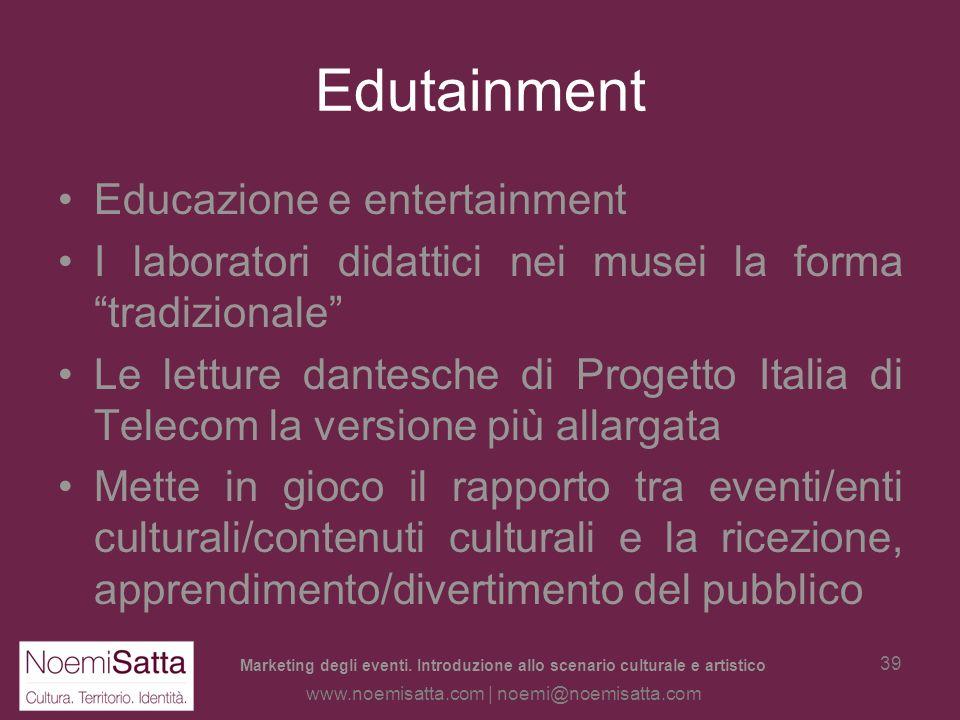 Marketing degli eventi. Introduzione allo scenario culturale e artistico www.noemisatta.com | noemi@noemisatta.com 38 Multifunzionalità: una parola do
