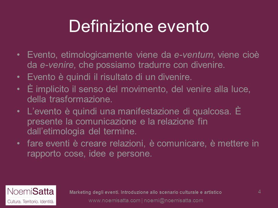 Marketing degli eventi. Introduzione allo scenario culturale e artistico www.noemisatta.com | noemi@noemisatta.com 3 LEVENTO