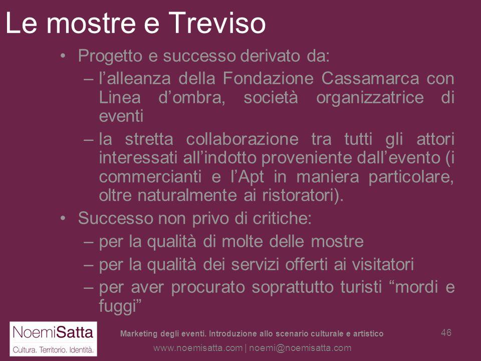Marketing degli eventi. Introduzione allo scenario culturale e artistico www.noemisatta.com | noemi@noemisatta.com 45 Le mostre: il caso Treviso Caso