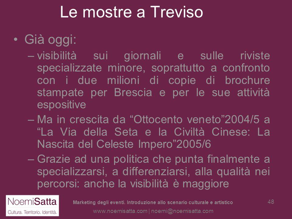 Marketing degli eventi. Introduzione allo scenario culturale e artistico www.noemisatta.com | noemi@noemisatta.com 47 Le mostre a Treviso Ma è riuscit