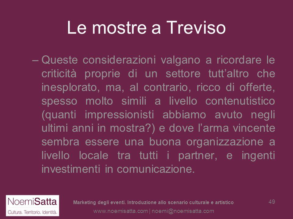 Marketing degli eventi. Introduzione allo scenario culturale e artistico www.noemisatta.com | noemi@noemisatta.com 48 Le mostre a Treviso Già oggi: –v