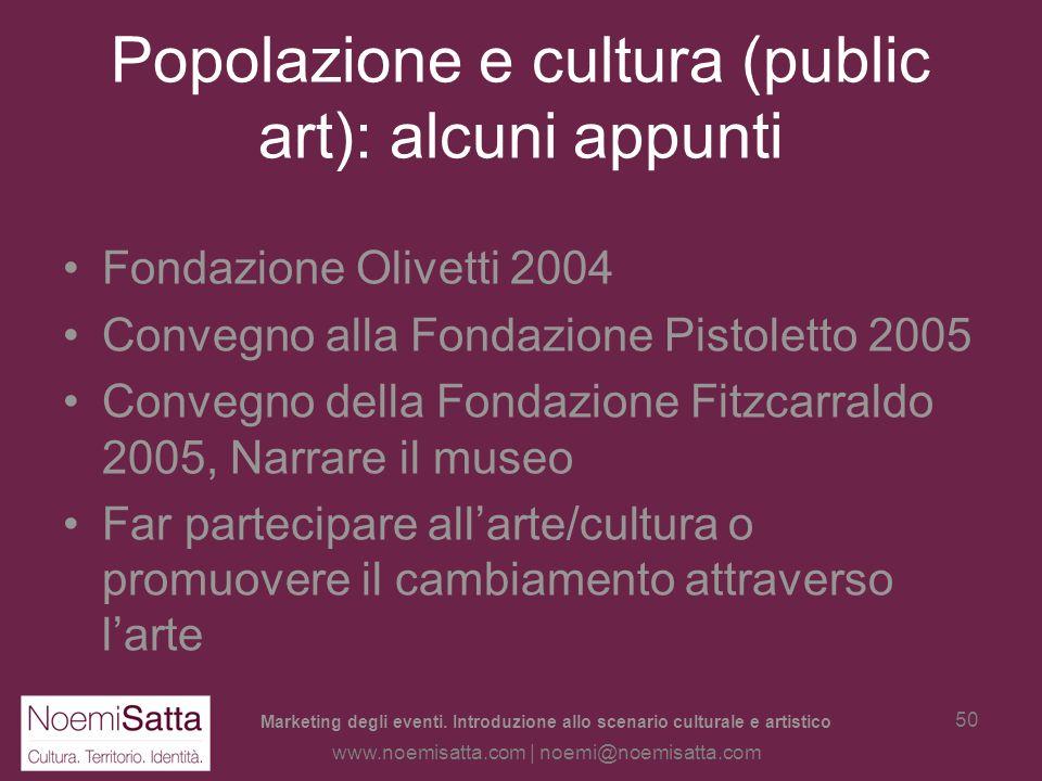Marketing degli eventi. Introduzione allo scenario culturale e artistico www.noemisatta.com | noemi@noemisatta.com 49 Le mostre a Treviso –Queste cons