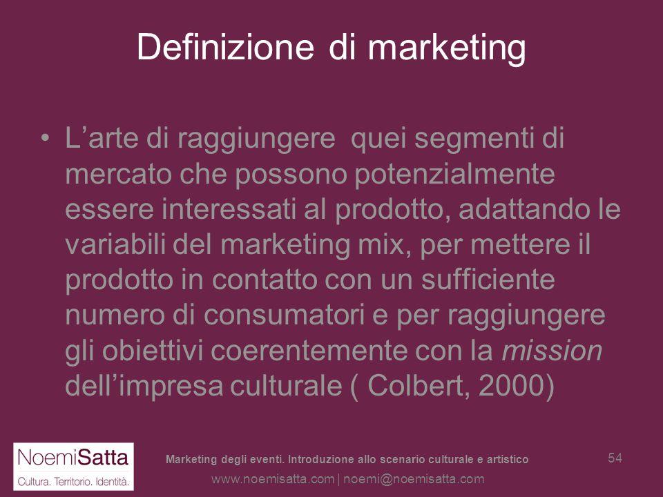 Marketing degli eventi. Introduzione allo scenario culturale e artistico www.noemisatta.com | noemi@noemisatta.com 53 Marketing in generale La definiz