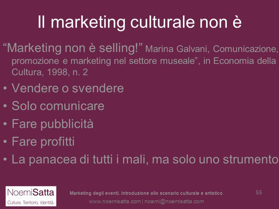 Marketing degli eventi. Introduzione allo scenario culturale e artistico www.noemisatta.com | noemi@noemisatta.com 54 Definizione di marketing Larte d