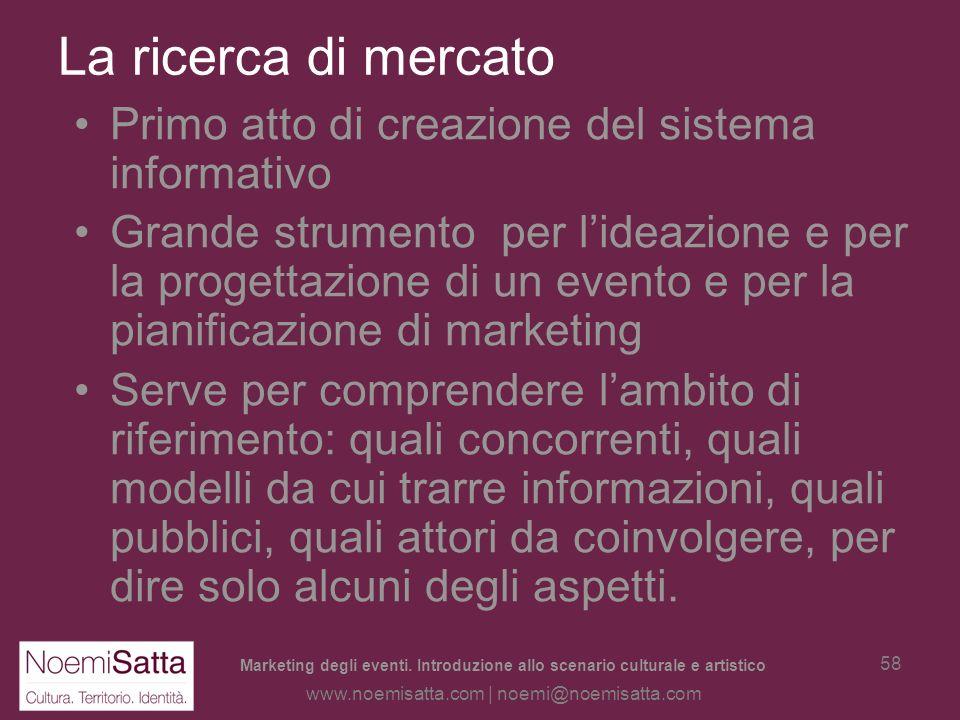 Marketing degli eventi. Introduzione allo scenario culturale e artistico www.noemisatta.com | noemi@noemisatta.com 57 Fare ricerca