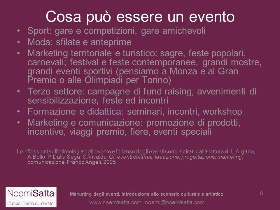 Marketing degli eventi. Introduzione allo scenario culturale e artistico www.noemisatta.com | noemi@noemisatta.com 5 Cosa può essere un evento Convegn