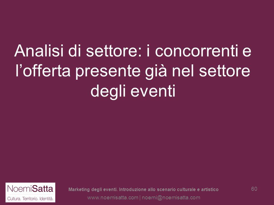 Marketing degli eventi. Introduzione allo scenario culturale e artistico www.noemisatta.com | noemi@noemisatta.com 59 Schema per la ricerca di mercato