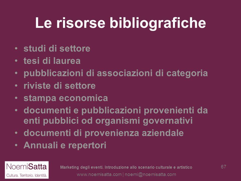 Marketing degli eventi. Introduzione allo scenario culturale e artistico www.noemisatta.com | noemi@noemisatta.com 66 Definizione e censimento delle r