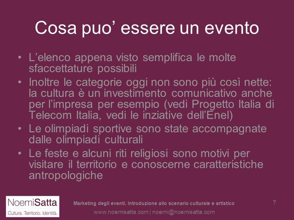 Marketing degli eventi. Introduzione allo scenario culturale e artistico www.noemisatta.com | noemi@noemisatta.com 6 Cosa può essere un evento Sport: