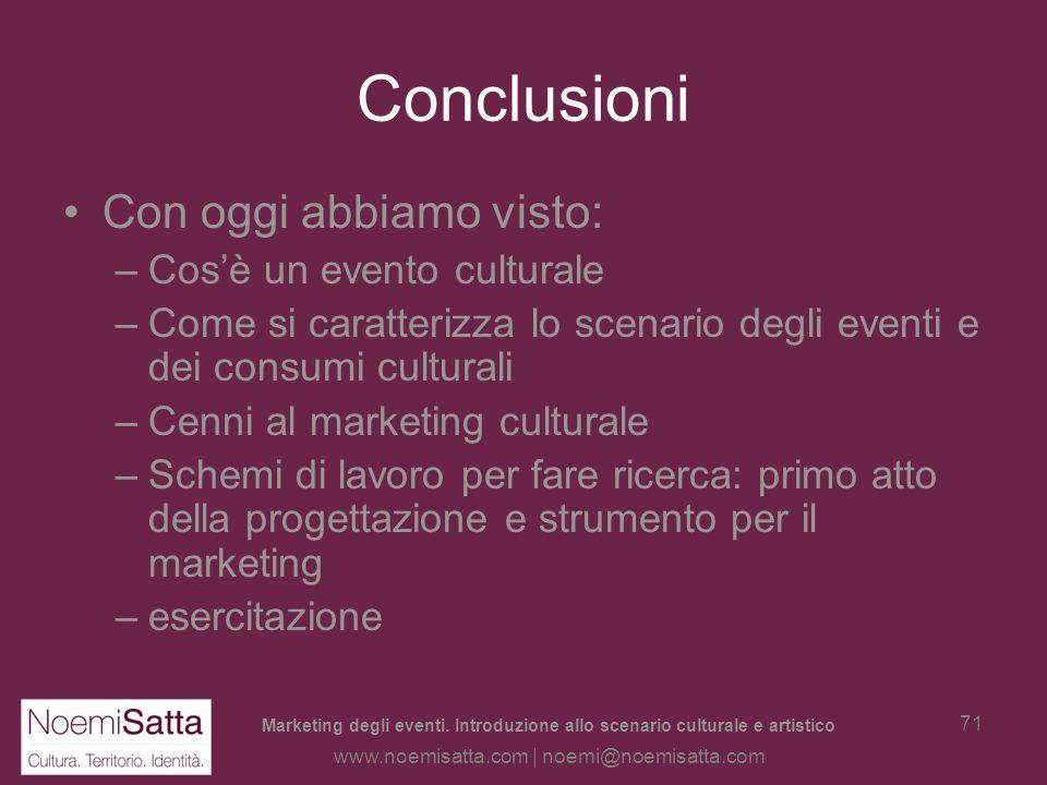 Marketing degli eventi. Introduzione allo scenario culturale e artistico www.noemisatta.com | noemi@noemisatta.com 70 Esercitazione Esercitazione: la