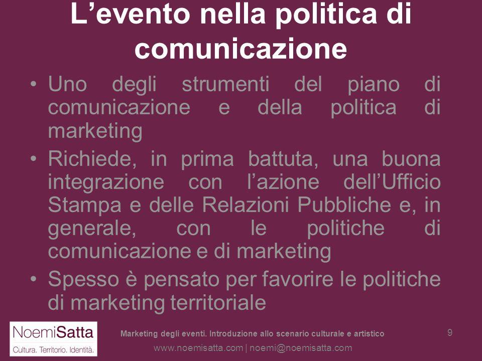 Marketing degli eventi. Introduzione allo scenario culturale e artistico www.noemisatta.com | noemi@noemisatta.com 8 Levento culturale Quanto detto è