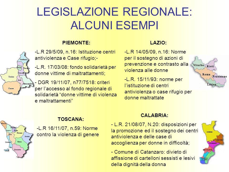 LEGISLAZIONE REGIONALE: ALCUNI ESEMPI PIEMONTE: -L.R 29/5/09, n.16: Istituzione centri antiviolenza e Case rifugio;- -L.R. 17/03/08: fondo solidarietà