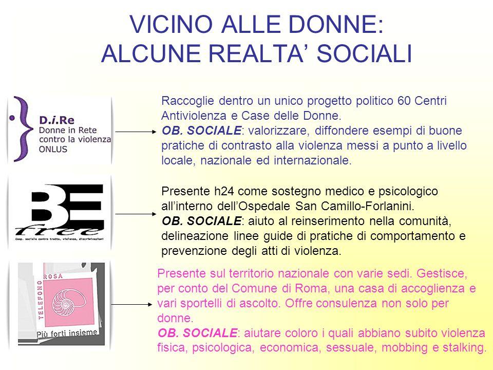 VICINO ALLE DONNE: ALCUNE REALTA SOCIALI Raccoglie dentro un unico progetto politico 60 Centri Antiviolenza e Case delle Donne. OB. SOCIALE: valorizza