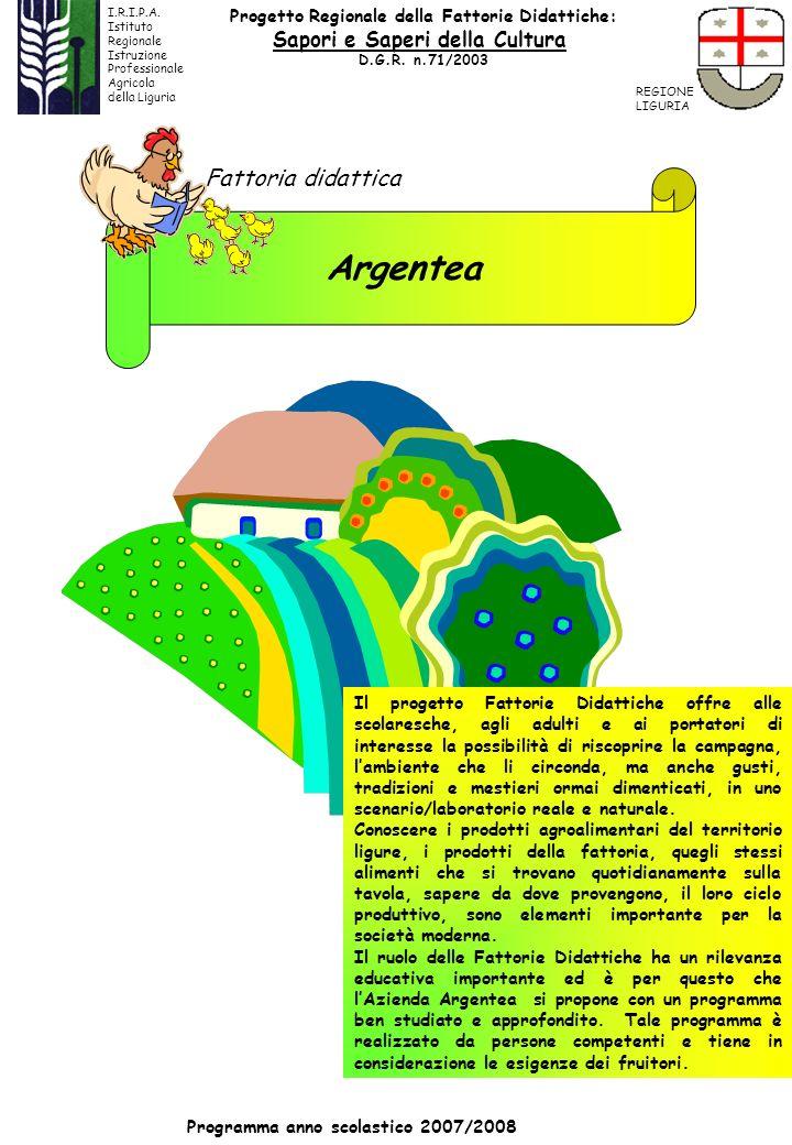 Argentea Fattoria didattica Programma anno scolastico 2007/2008 Il progetto Fattorie Didattiche offre alle scolaresche, agli adulti e ai portatori di