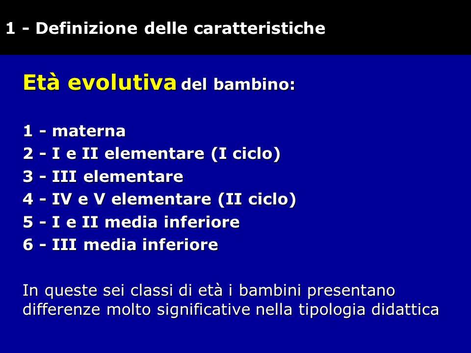Età evolutiva del bambino: 1 - materna 2 - I e II elementare (I ciclo) 2 - I e II elementare (I ciclo) 3 - III elementare 4 - IV e V elementare (II ci