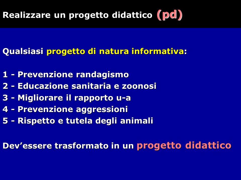 Qualsiasi progetto di natura informativa: 1 - Prevenzione randagismo 2 - Educazione sanitaria e zoonosi 3 - Migliorare il rapporto u-a 4 - Prevenzione