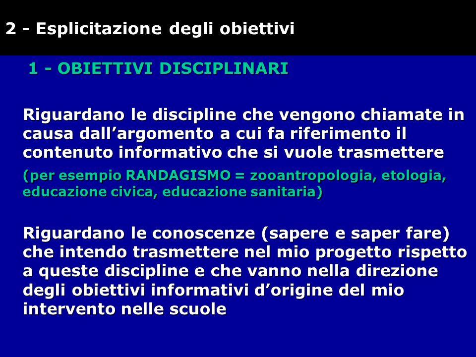 1 - OBIETTIVI DISCIPLINARI Riguardano le discipline che vengono chiamate in causa dallargomento a cui fa riferimento il contenuto informativo che si v