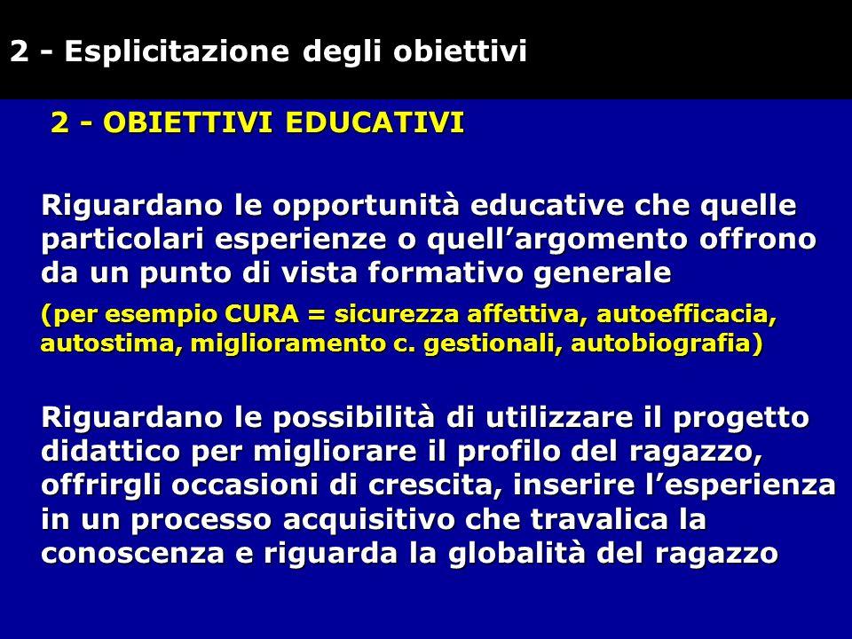 2 - OBIETTIVI EDUCATIVI Riguardano le opportunità educative che quelle particolari esperienze o quellargomento offrono da un punto di vista formativo