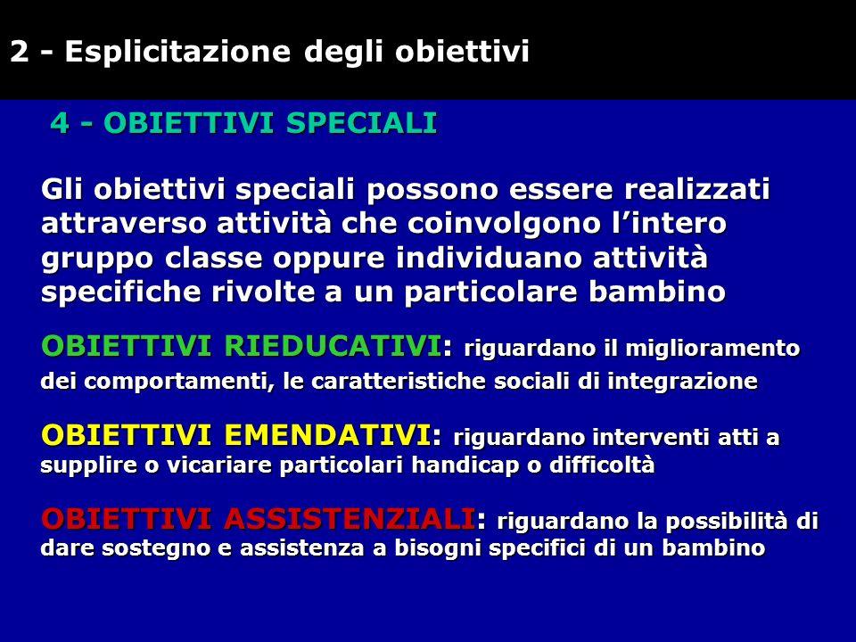 4 - OBIETTIVI SPECIALI Gli obiettivi speciali possono essere realizzati attraverso attività che coinvolgono lintero gruppo classe oppure individuano a