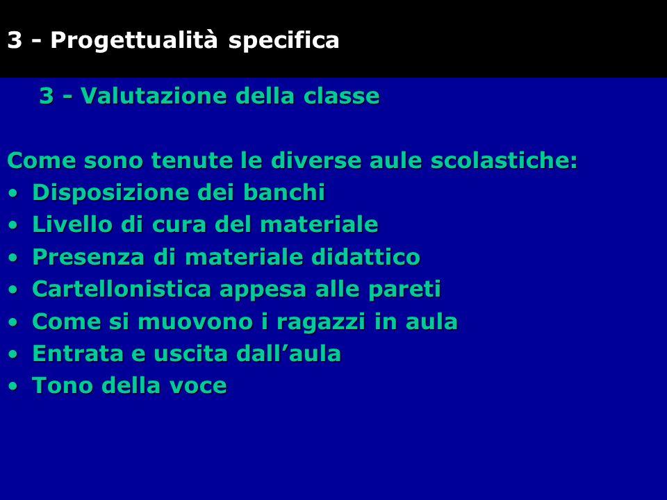 3 - Valutazione della classe Come sono tenute le diverse aule scolastiche: Disposizione dei banchiDisposizione dei banchi Livello di cura del material