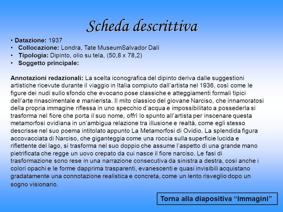 Scheda descrittiva Torna alla diapositiva Immagini Datazione: 1937 Collocazione: Londra, Tate MuseumSalvador Dalì Tipologia: Dipinto, olio su tela, (5