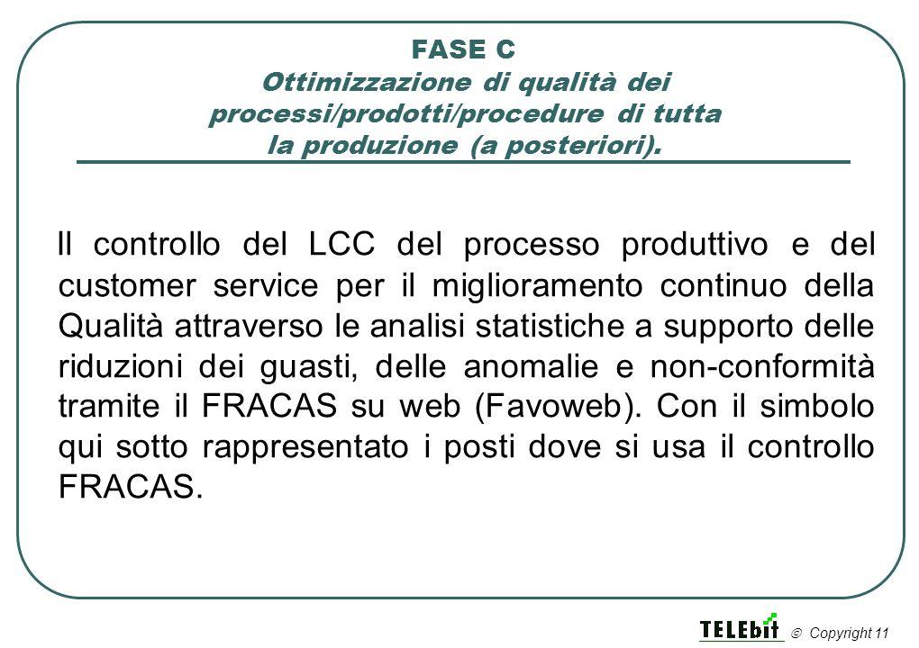 FASE C Ottimizzazione di qualità dei processi/prodotti/procedure di tutta la produzione (a posteriori). Il controllo del LCC del processo produttivo e