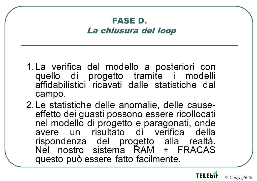 FASE D. La chiusura del loop 1.La verifica del modello a posteriori con quello di progetto tramite i modelli affidabilistici ricavati dalle statistich