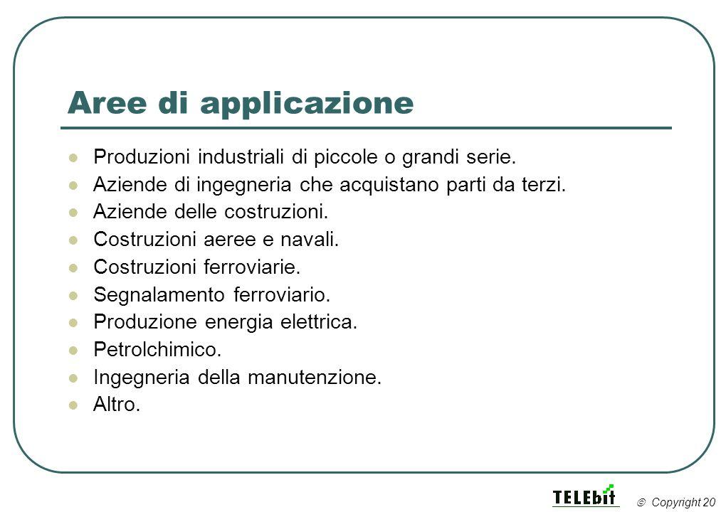Aree di applicazione Produzioni industriali di piccole o grandi serie. Aziende di ingegneria che acquistano parti da terzi. Aziende delle costruzioni.