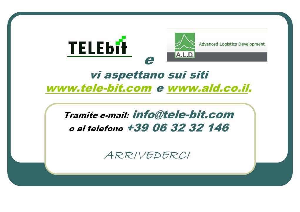 e vi aspettano sui siti www.tele-bit.com e www.ald.co.il. Tramite e-mail: info@tele-bit.com o al telefono +39 06 32 32 146 www.tele-bit.comwww.ald.co.