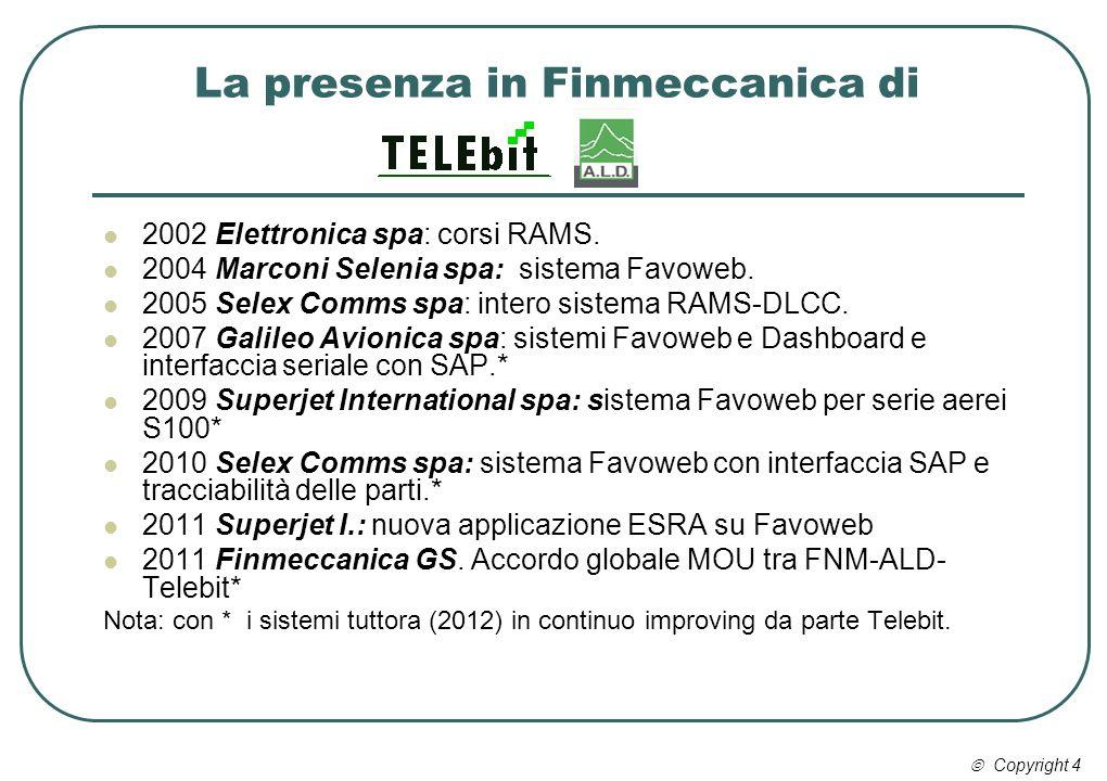 La presenza in Finmeccanica di 2002 Elettronica spa: corsi RAMS. 2004 Marconi Selenia spa: sistema Favoweb. 2005 Selex Comms spa: intero sistema RAMS-