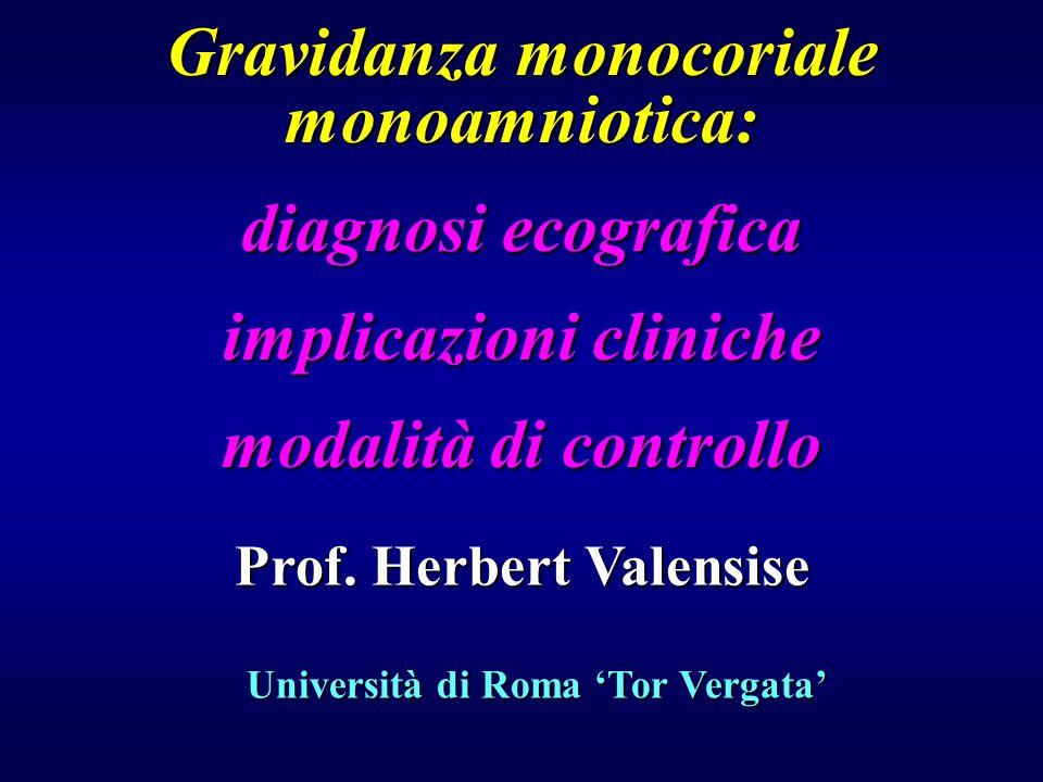 Gravidanza monocoriale monoamniotica: diagnosi ecografica implicazioni cliniche modalità di controllo Prof. Herbert Valensise Università di Roma Tor V