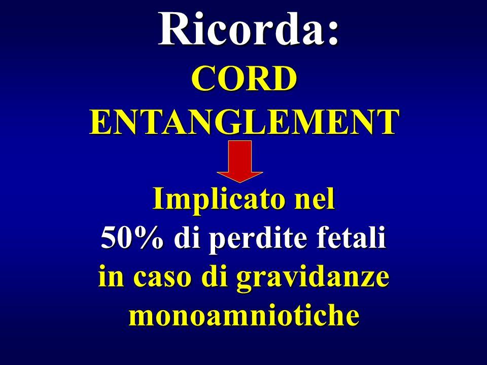 Implicato nel 50% di perdite fetali in caso di gravidanze monoamniotiche Ricorda: CORD ENTANGLEMENT