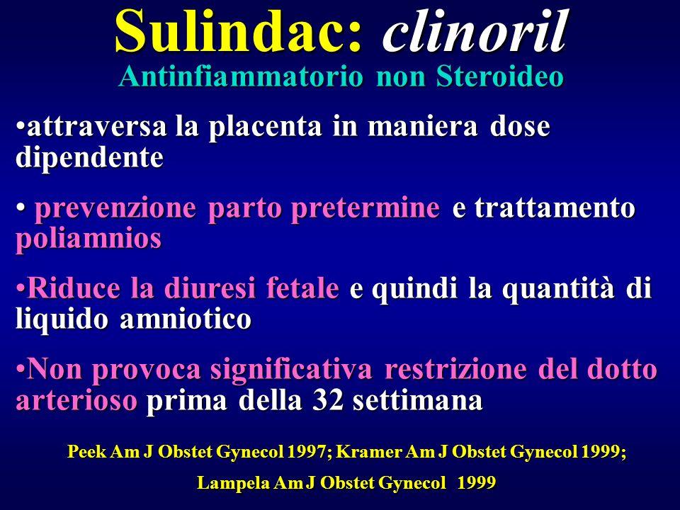 Sulindac: clinoril Antinfiammatorio non Steroideo attraversa la placenta in maniera dose dipendenteattraversa la placenta in maniera dose dipendente p