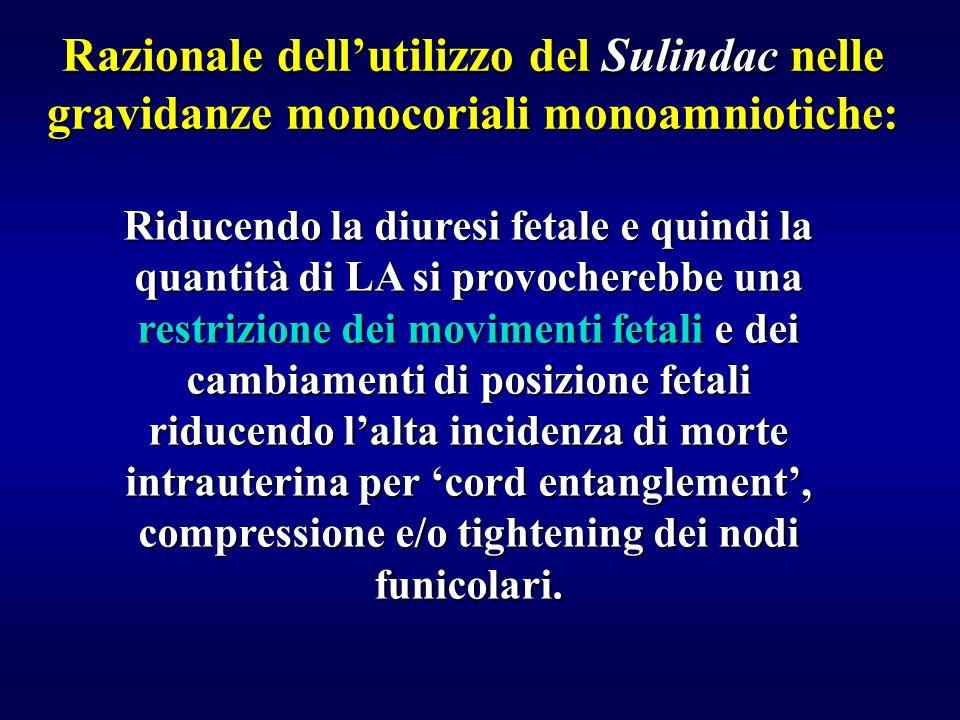 Razionale dellutilizzo del Sulindac nelle gravidanze monocoriali monoamniotiche: Riducendo la diuresi fetale e quindi la quantità di LA si provochereb