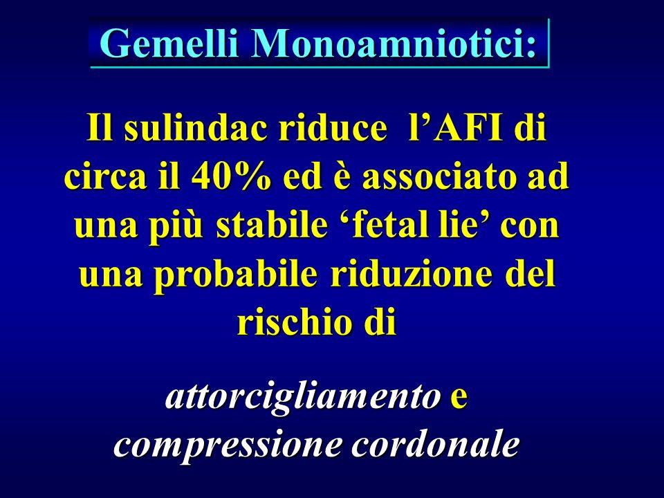 Gemelli Monoamniotici: Il sulindac riduce lAFI di circa il 40% ed è associato ad una più stabile fetal lie con una probabile riduzione del rischio di