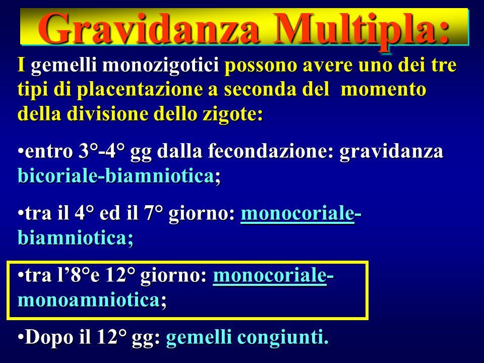 I gemelli monozigotici possono avere uno dei tre tipi di placentazione a seconda del momento della divisione dello zigote: entro 3°-4° gg dalla fecond