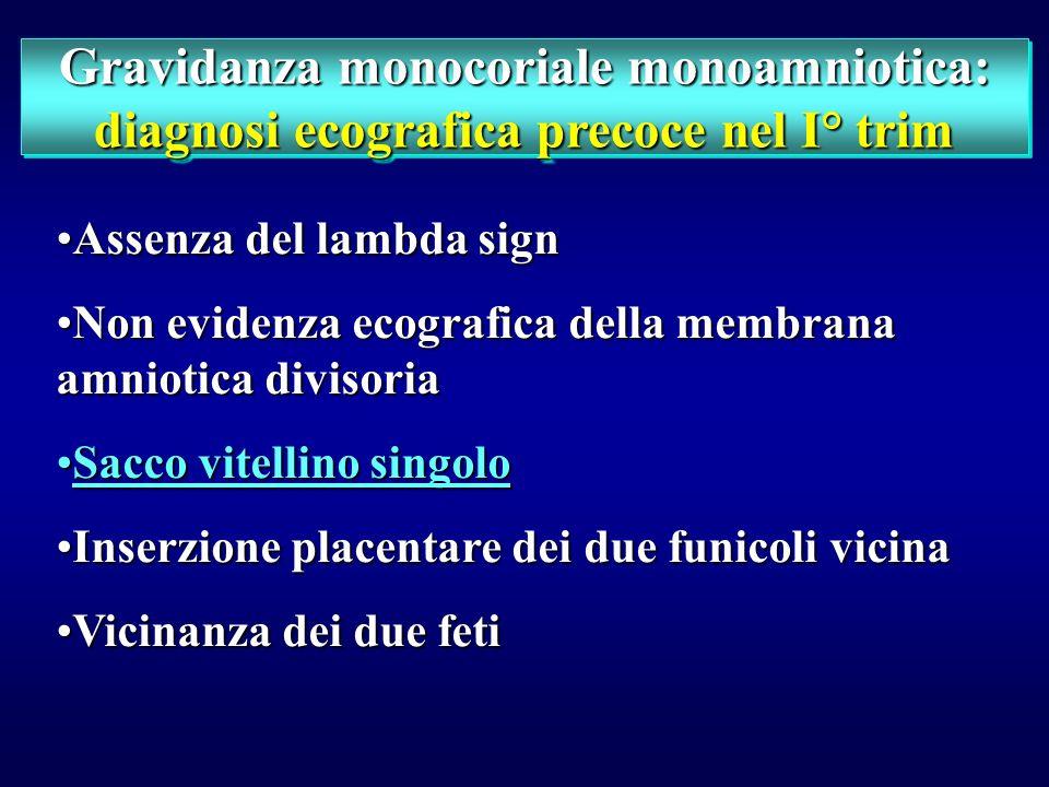 Gravidanza monocoriale monoamniotica: diagnosi ecografica precoce nel I° trim Gravidanza monocoriale monoamniotica: diagnosi ecografica precoce nel I°