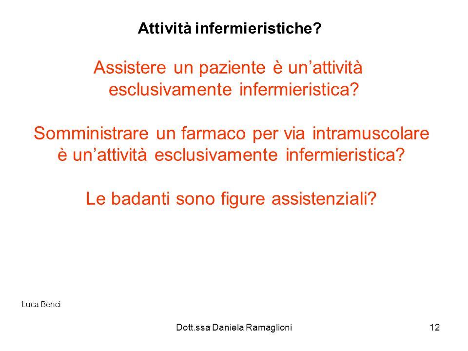 Dott.ssa Daniela Ramaglioni12 Attività infermieristiche? Assistere un paziente è unattività esclusivamente infermieristica? Somministrare un farmaco p