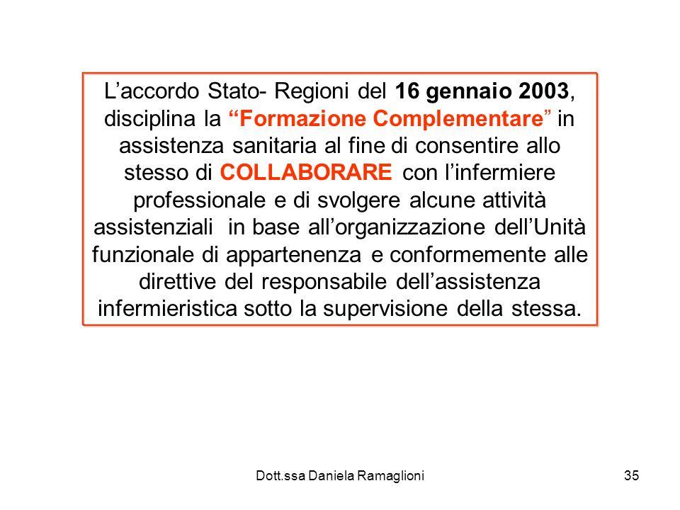 Dott.ssa Daniela Ramaglioni35 Laccordo Stato- Regioni del 16 gennaio 2003, disciplina la Formazione Complementare in assistenza sanitaria al fine di c