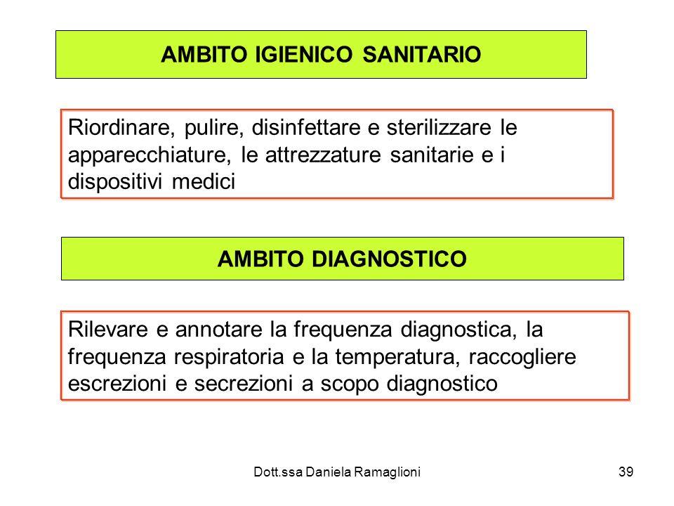 Dott.ssa Daniela Ramaglioni39 AMBITO IGIENICO SANITARIO Riordinare, pulire, disinfettare e sterilizzare le apparecchiature, le attrezzature sanitarie