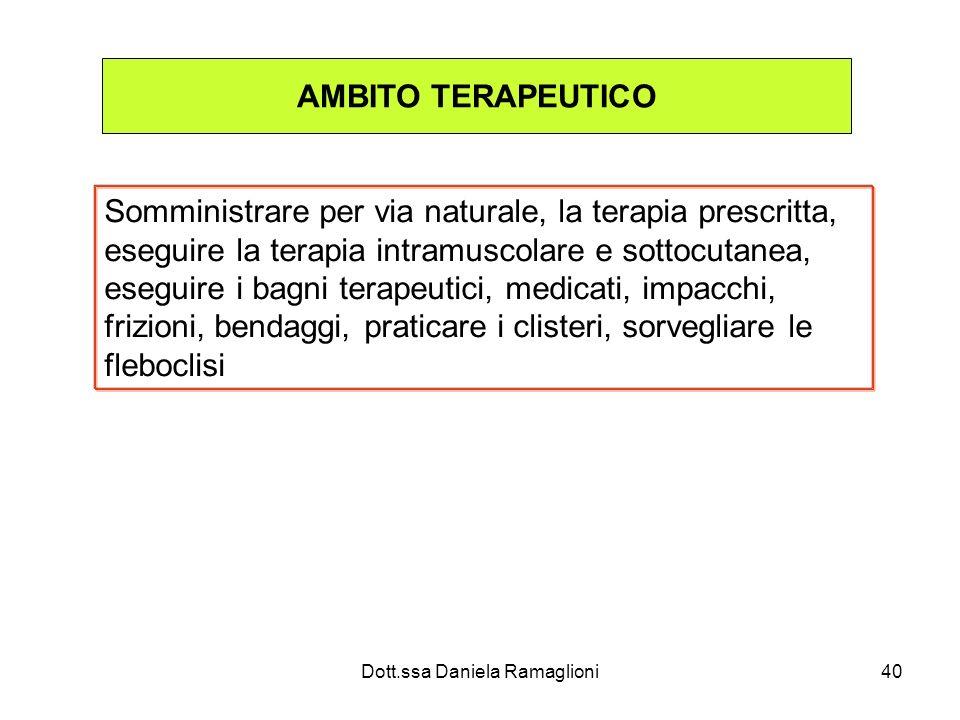 Dott.ssa Daniela Ramaglioni40 AMBITO TERAPEUTICO Somministrare per via naturale, la terapia prescritta, eseguire la terapia intramuscolare e sottocuta