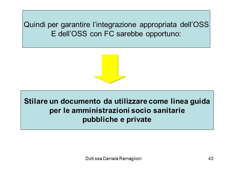 Dott.ssa Daniela Ramaglioni43 Quindi per garantire lintegrazione appropriata dellOSS E dellOSS con FC sarebbe opportuno: Stilare un documento da utili