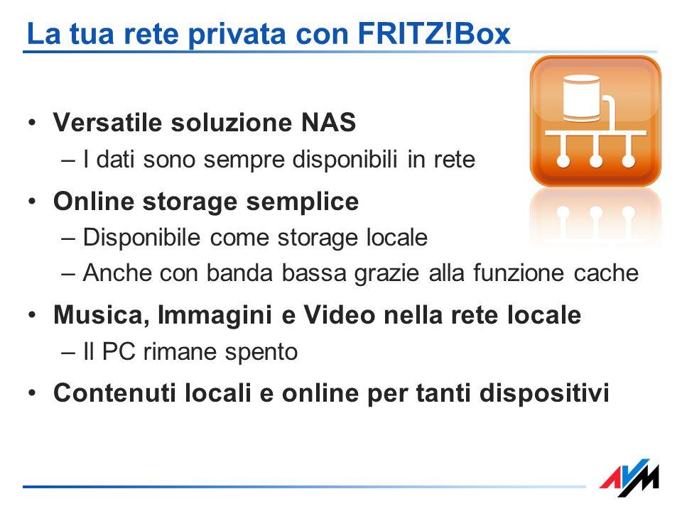 La tua rete privata con FRITZ!Box Versatile soluzione NAS –I dati sono sempre disponibili in rete Online storage semplice –Disponibile come storage lo