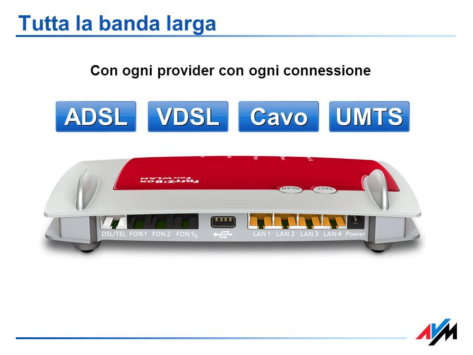 ADSL VDSL UMTS Cavo Tutta la banda larga Con ogni provider con ogni connessione